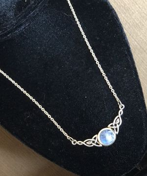 Rainbow moonstone Motherhood Knot 925 sterling silver celtic necklace for Sale in Redondo Beach, CA