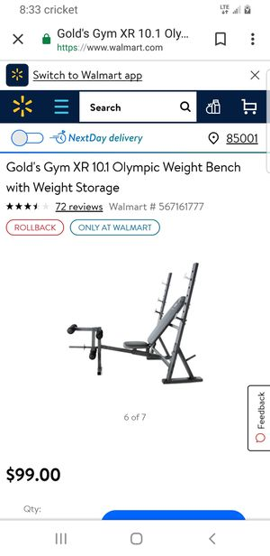 Gold's Gym - Olympic Weight Set, 110 lbs and bench for Sale in Las Vegas, NV