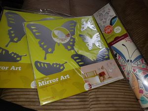 Butterfly mirrored/stickered wall art, pops, deco brand new never opened $25 for all 3 for Sale in Parma, OH