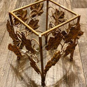 Gold Metal Sconce Grape Leafs Vase Plant Bow Centerpiece Stand Holder Home Decoration Accent for Sale in Chapel Hill, NC