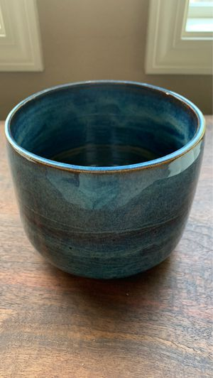 Unique handmade blue speckled ceramic plant pot with design for Sale in Vancouver, WA