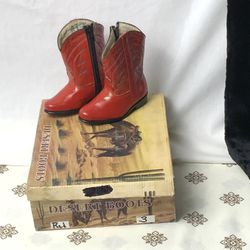Desert Boots Apache Red Leather Cowgirl Pageant Infant Girl 3 for Sale in Choctaw,  OK