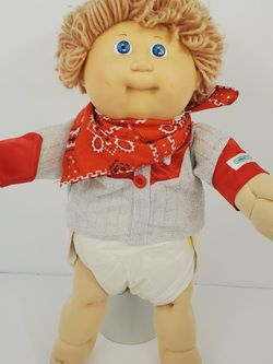 Vintage Cabbage Patch Kids Dolls 1986 Brown Curly Hair Blue Eyes Cowboy 17'' for Sale in Brooklyn,  NY