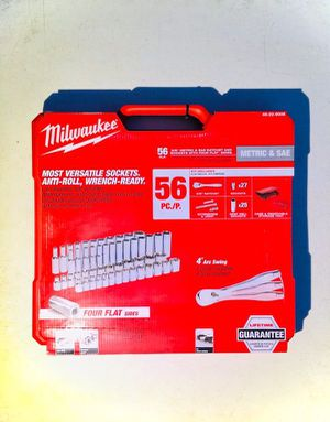 "New Milwaukee 3/8"" Drive Ratchet & Socket SAE / Metric Mechanics Tool Set 56 pc. Life Time Warranty for Sale in Modesto, CA"