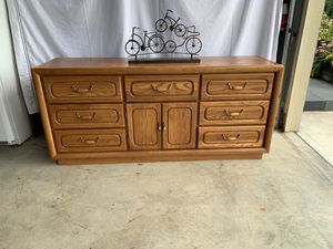 "Quality honey oak 9 drawers dresser , with two doors 18"" D 30"" H 68"" W for Sale in Vancouver, WA"
