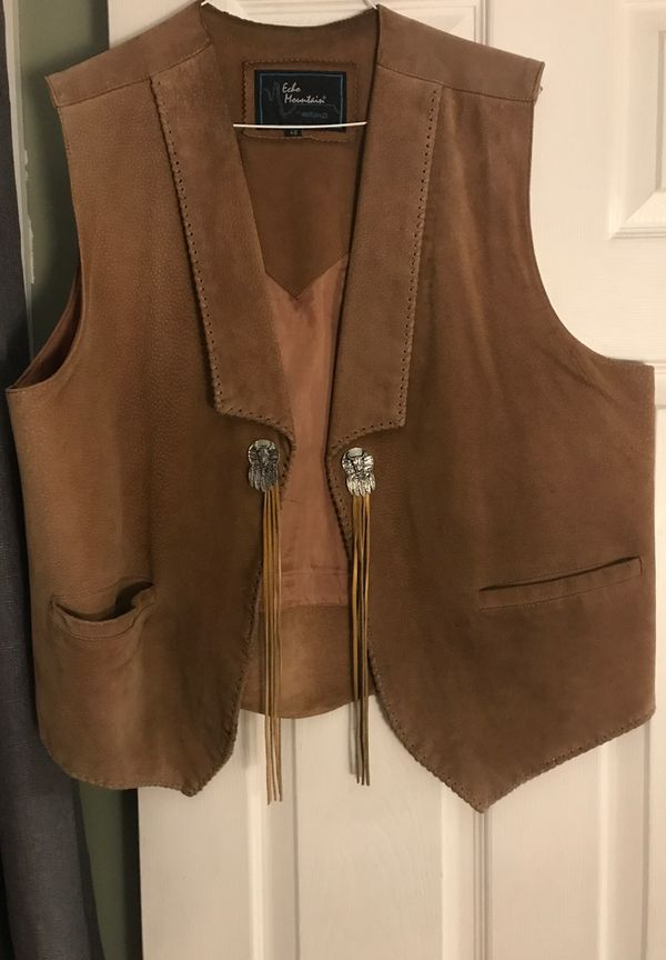 Suede leather vest motorcycle