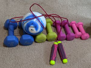 Lot of hand weights/workout equipment for Sale in Houston, TX