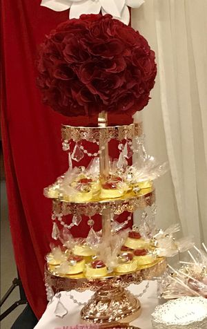 3 Tier Gold Cupcake Stand with crystals for Sale in Norco, CA