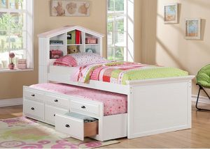 New White Twin/Twin Trundle With Bookcase and Storage for Sale in Austin, TX