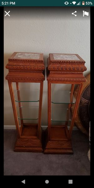Set of Wood and marble stands with glass shelves for Sale in Las Vegas, NV
