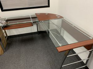 Generic desk with glass for sale for Sale in Las Vegas, NV