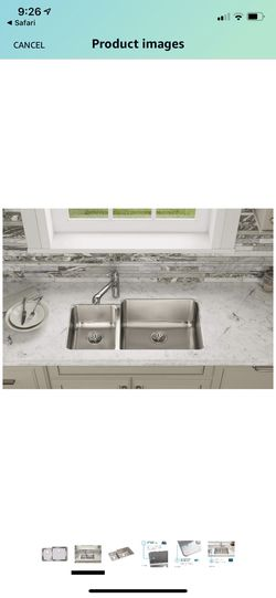 """Elkay ELUH3520L Gourmet 35-1/4"""" Double Basin 18-Gauge Stainless Steel Kitchen Sink for Undermount Installations with 35/65 Split and SoundGuard Techn for Sale in Union,  NJ"""