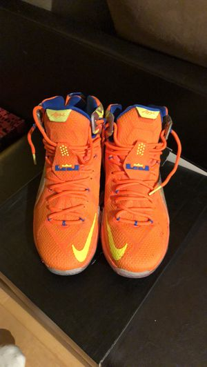 Nike / LeBrons Size 12 Mens / Orange Yellow and Blue for Sale in Arlington, VA