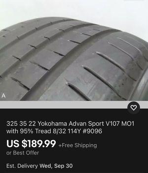 325 35 22 Yokohama Advan Sport V107 MO1 with 95% Tread 8/32 114Y #9096 for Sale in Miami, FL