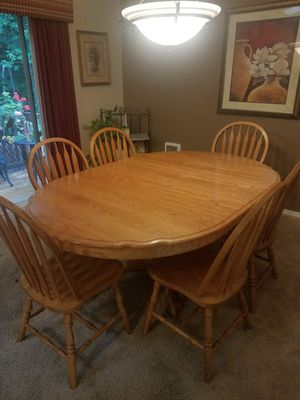Solid oak 7-piece dining set w/bonus chair for Sale in Snohomish, WA