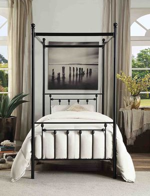 Brand New In the Box Homelegance Chelone Metal Canopy Bed, Twin, Black! for Sale in Fresno, CA