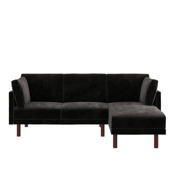 Coil Sectional Futon, Convertible Sofa Bed & Couch, Black