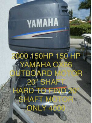 "2000 150hp YAMAHA OX66 OUTBOARD MOTOR WITH HARD TO FIND 20"" SHAFT MOTOR ! Great for skinny water 💦 come by today and see her running like a top !!! for Sale in West Palm Beach, FL"