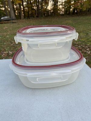 2 Matching Rubbermaid Clear & Maroon Storage Containers for Sale in Fairfax, VA