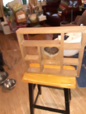 Small shelf with glass heart hangs on wall for Sale in Mounds, OK