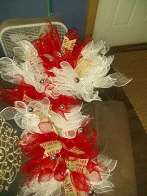 Homemade candy cane wreath for Sale in Cement, OK