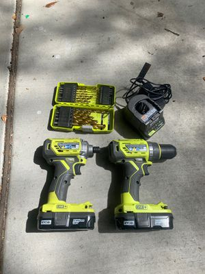 Ryobi Drill/ Impact Drill set w/ batteries and charger for Sale in Sacramento, CA
