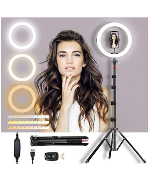 """Selfie Ring Light with Adjustable Tripod Stand & Phone Holder 11"""" Dimmable LED Camera Ring Light for Live Stream/Makeup/Video, with Remote for Sale in Colonial Heights, VA"""