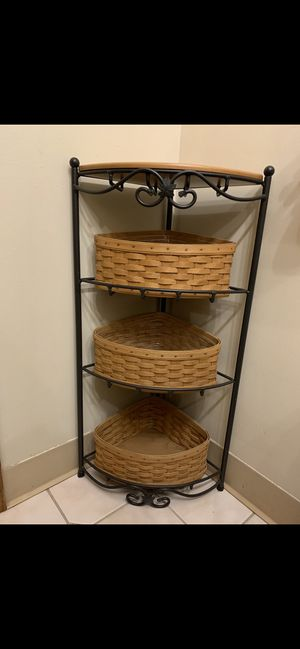 Longaberger Wrought Iron Corner Floor Stand w/baskets for Sale in Monaca, PA