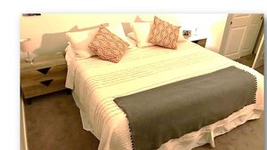 King Size Box Spring Bed, looks as new only 7 months of use. Free Shipping!! for Sale in Berkeley, CA