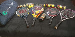 Tennis 4 Rackets with Racket holders and 26 balls for Sale in Watauga, TX
