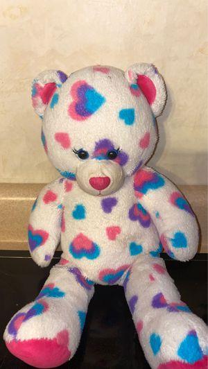 Build-a-Bear Plush Teddy Bear Plush White Colorful Polka Heart Print Stuffed Toy for Sale in Aliquippa, PA