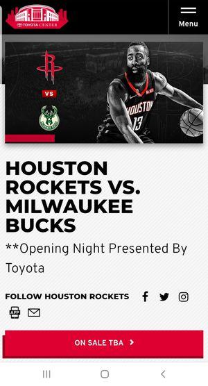 Rockets vs. Milwaukee Buck Oct. 24th. for Sale in Katy, TX
