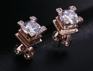 4cts Eiffel Tower 14k Rose Gold Lab Created CZ Diamond Stud Earrings for Sale in Aspen Hill, MD