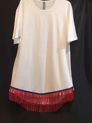 Custom-made handmade T-shirt w/ Fringes and border of blue for Sale in Shreveport, LA