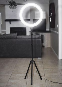 New in box 10 inches Ring LED Light Warm and Cold 3000 to 6500K USB with Adjustable Tripod 59 inches tall and Controller Video Maker Phone Camera Hol for Sale in South El Monte,  CA