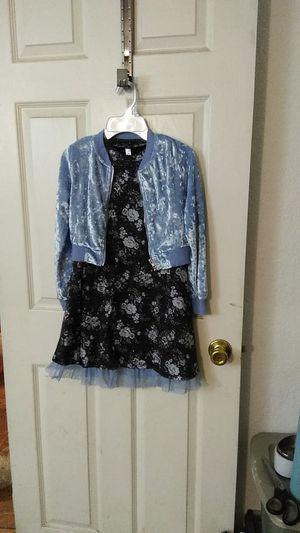 Beautiful dress with light blue coatmade of velvet for Sale in San Bernardino, CA