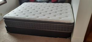 Hampton queen pillow top mattress and frame for Sale in Des Moines, IA