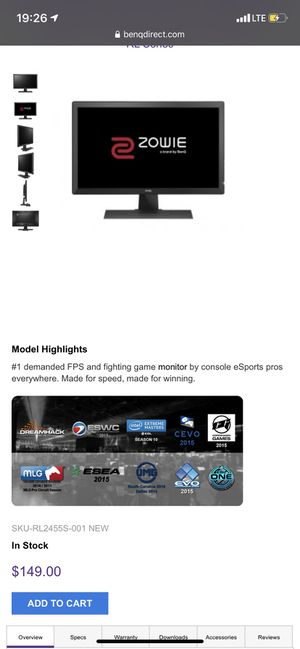 """BenQ ZOWIE RL2455S 24"""" 1080p 60Hz eSports Console Gaming Monitor for Sale in Kailua, HI"""