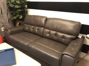 Brand New Grey Leather Couch for Sale in Virginia Beach, VA