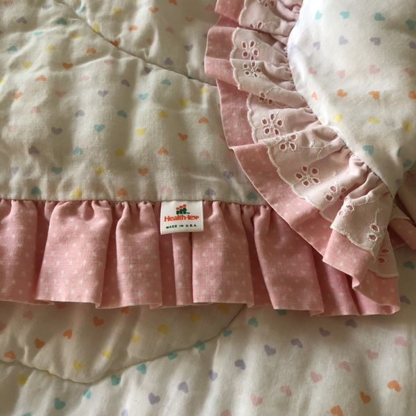 Health-Tex Made In The USA VINTAGE Baby Quilt/Crib Quilt Colored Hearts, Heart Stitching, Ruffles and Eyelet Ruffles In AMAZING Condition.