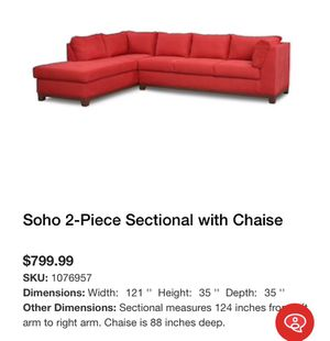 Soho 2-Piece Sectional with Chaise for Sale in Palm Beach, FL