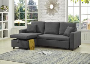 Brand New Reversible Grey Linen Sectional Sleeper Sofa for Sale in Silver Spring, MD