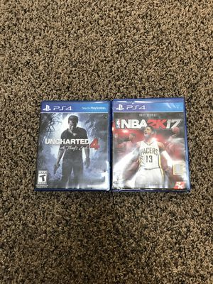 Uncharted 4 & NBA 2k17 for PS4 for Sale in Howell Township, NJ