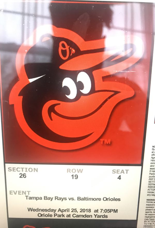 Tampa Bay Rays vs. Baltimore Orioles April 25th 2018