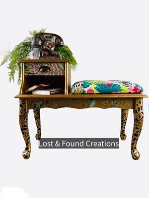 Vintage phone table/ gossip bench/ repurposed furniture/ bohemian furniture for Sale in Dalton, GA