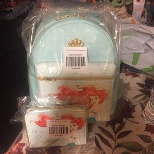 Little Mermaid Loungefly Backpack With Matching Wallet New With Tags for Sale in Sacramento, CA