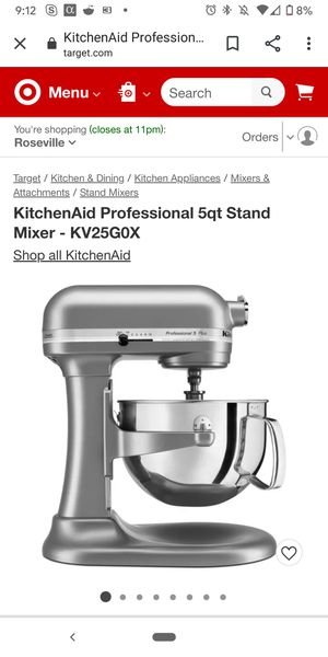 KitchenAid Professional 5qt Stand Mixer - Gray for Sale in Elk Grove, CA