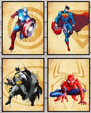 Superheroes Wall Art Spiderman Batman Superman Captain America Kidsroom Gameroom Theater Den Gym ComicCon for Sale in Salem, OR