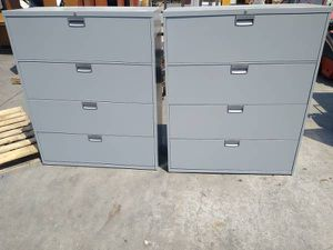 (8) STEELCASE 4-DRAWER LATERAL HON LOCK OFFICE FILE CABINET GREY OFFICE BUSINESS TOOL BOX RACK COMMERCIAL INDUSTRIAL QUALITY for Sale in La Mesa, CA