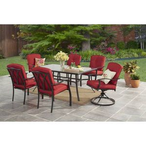 7-Piece Patio Garden Furniture Dining Set With Deep Seat Cushion Chairs - Tan Or Red Color Options for Sale in Colorado Springs, CO